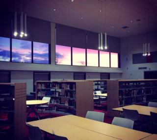 Learning Commons at sunset